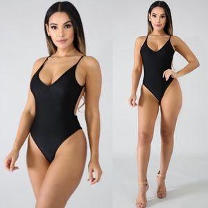 Tops - Women's Sexy Nylon Black Bodysuit